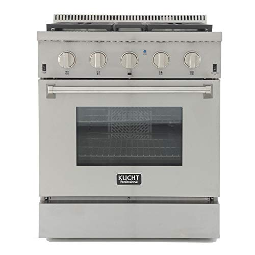 Kucht KRD306F Professional 30' 4.2 cu. ft. Dual Fuel Range for Natural Gas, Stainless-Steel, 30 Inch, Classic Silver