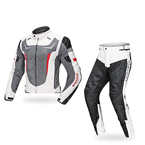 WFGZQ Traje de Moto con Protecciones y Reflectores Hombre 2 Piezas Chaqueta y Pantalón de Moto de Textil Cómodo y Transpirable