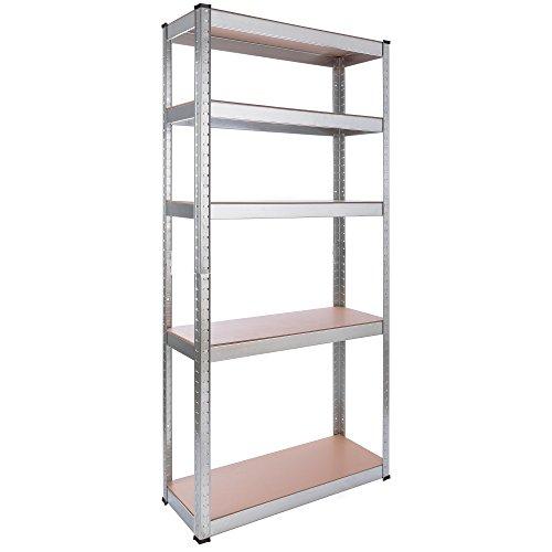 Arebos Schwerlastregal Steckregal Kelleregal/Metall / 80 x 30 x 170 cm / 350 kg Tragkraft/Einfache Montage durch Stecksystem und ohne Schrauben