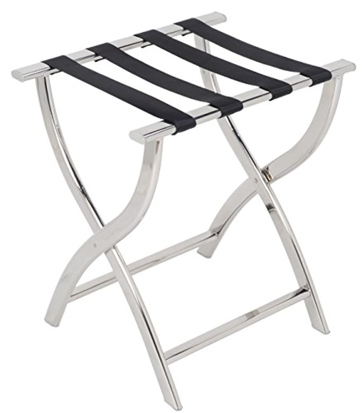 AMENITIES DEPOT Folding Chrome Stainless Steel Luggage Rack (J-12A)