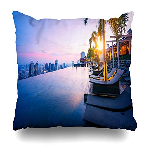 fdyhfgujghjkgj Pillowcase Center Blue Bay Cityscape Singapore City Morning Sunrise Sky Skyline Parks Marina Pool Rooftop Hotel Polyester Square Throw Pillow Cover 18×18 inch