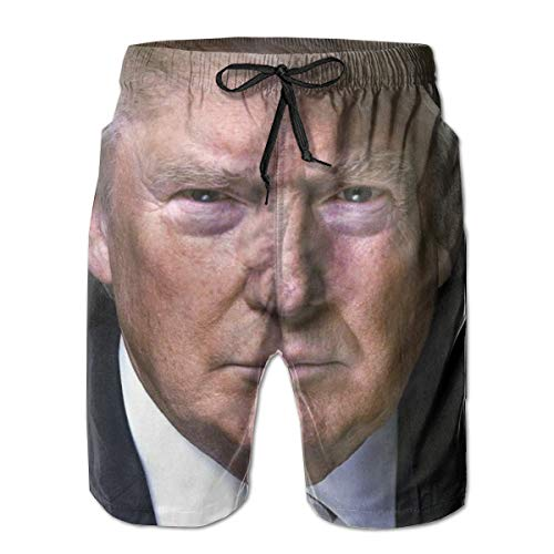 Donald Trump 2020 Election Men's Swim Trunks Beach Board Shorts Dry Quickly Bathing Suits Large White