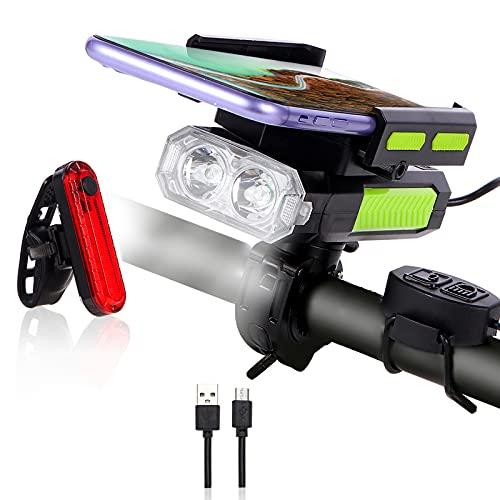 OSHINEW 5 in 1 LED Fahrradlicht Set, USB Aufladbar Fahradlicht Set, IP65 Wasserdicht Haben DREI Beleuchtungsmodi Können als Fahrradbeleuchtung, Handyhalterung, Lautsprecher, Mobilstrom (4000 mAh) (A)