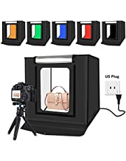 GLURIZ Estudio Fotográfico Portátil, Caja de Luz para Estudio Fotográfico, Kit para Fotografía de Producto 40x40x40cm con 2 Tiras LED Ajustable 64Leds y 6 Fondos de Colores