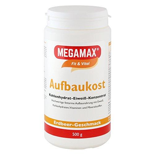 MEGAMAX Aufbaukost Erdbeere. Ideal zur Kräftigung und bei Untergewicht. Pulver zur Zubereitung eines fettarmen Kohlenhydrat-Eiweiß-Getränkes. Produktion in Deutschland. 500g