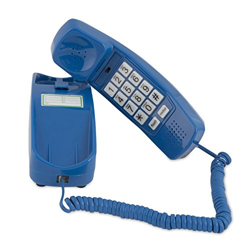 Trimline Corded Phone - Phones for Seniors - Phone for Hearing impaired - Classic Blue - Retro Novelty Telephone - an Improved Version of The Princess Phones in 1965 - Style Big Button