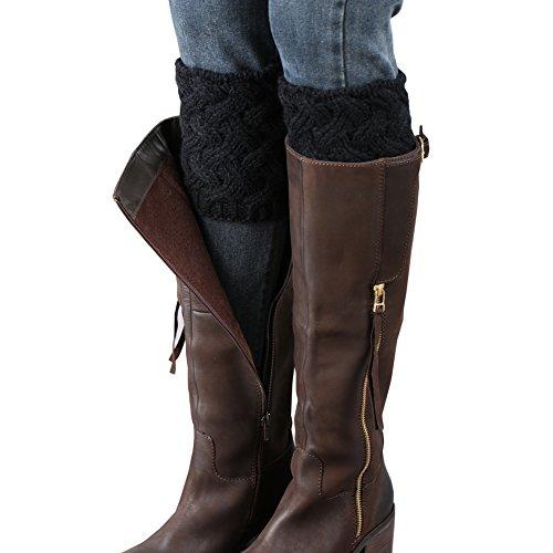 FAYBOX Short Women Crochet Boot Cuffs Winter Cable Knit Leg Warmers Black