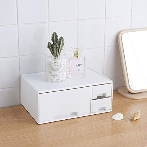 Plastic Drawer Makeup Box Double Layer Cosmetic Organizer Desktop Storage Box for Cosmetics Sundrie Dressing Table Skin Care Rack (White, Drawer)