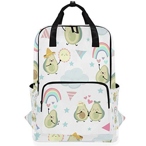 Naanle Mochila para portátil de aguacate, con diseño de arco iris de aguacate, mochila de viaje casual duradera para mujeres, hombres, negocios, ajuste de 14 pulgadas