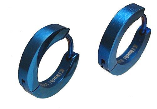 Kikuchi Herren Damen Creolen Ohrringe Edelstahl 2,5mm/13,5mmØ Slim Ohrstecker ER15106 (blau matt)