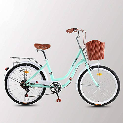 Double Bay Bottom Beam City Bike 7 Speed Bicycle Women's Speed Bicycle Ultra Light Portable Commuting Vintage Unisex Bicycle-A-24inch