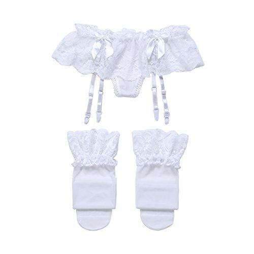 Cszxx Strumpfhalter Damen und Strumpfsets Sexy Lace Strumpfhosen Strapse (Weiß)
