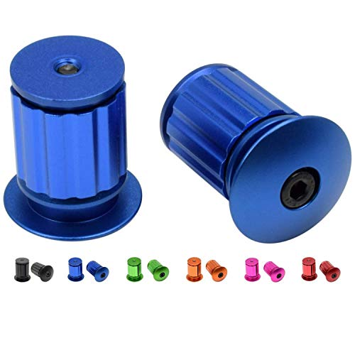 Domain Cycling Aluminum Bike Handlebar Bar End Plugs, Expanding Adjustable Locking Caps, Road Bicycle Grip Mountain BMX MTB Fixie (Blue)