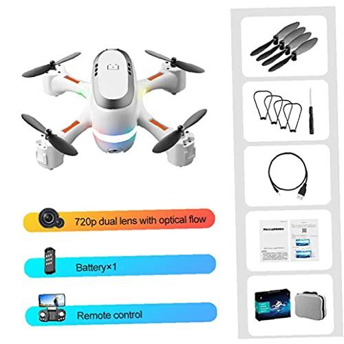 Drone a LED, mini drone WiFi con luci colorate a LED Pieghevole RC FPV Quadcopter bianco 1 BATTERY