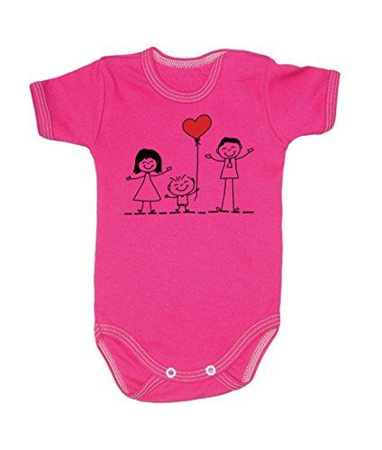 Couleur Mode Dessin Famille Amour Unisexe bodies à manches courtes 100% coton Petit bébé – 24 mois – 0016 rose 0-3 months, 62 cm