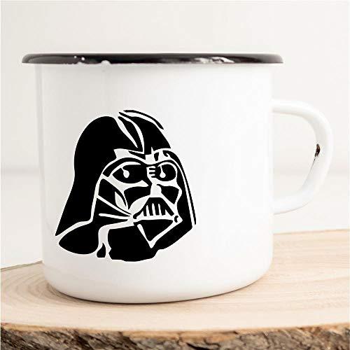 HELLWEG DRUCKEREI Emaille Tasse für Darth Vader Star Wars Fans Geschenk Idee für Frauen und Männer 300ml Retro Vintage Kaffee-Becher Weiß mit Comic Motiv für Freunde und Kollegen