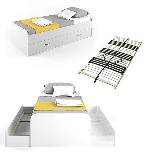 VitaliSpa Kojenbett Bett Enzo Jugendbett mit Gästeliege Funktionsbett 90x200 cm (Weiß mit Lattenrost)