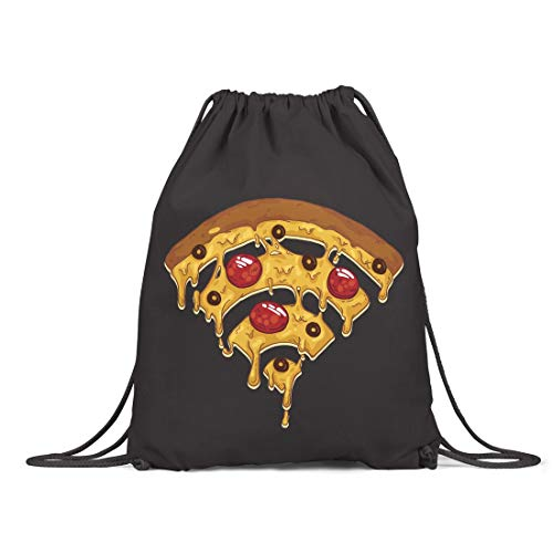 BLAK TEE Funny Pizza Wi Fi Illustration Organic Cotton Drawstring Gym Bag Black