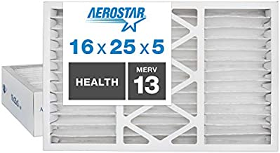Aerostar Home Max 16x25x5 MERV 13 Honeywell Replacement Pleated Air Filter, Made in the USA, Captures Virus Particles, (Actual Size: 15 7/8
