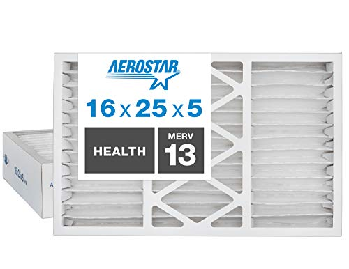 Aerostar Home Max 16x25x5 MERV 13 Honeywell Replacement Pleated Air Filter, Made in the USA, Captures Virus Particles, (Actual Size: 15 7/8' x 24 3/4' x 4 3/8'), 2-Pack,White