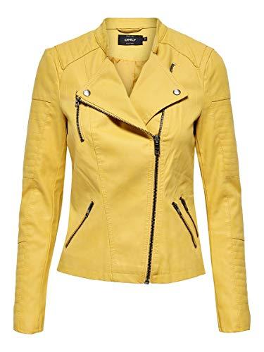 Chaqueta de cuero amarilla para mujer