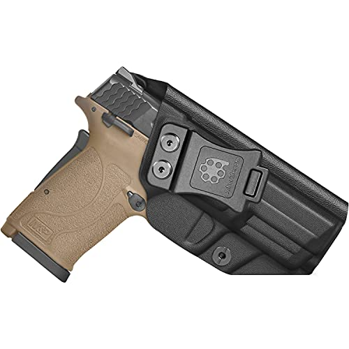 Amberide IWB KYDEX Holster Fit: Smith & Wesson M&P 9mm Shield EZ Pistol   Inside Waistband   Adjustable Cant   US KYDEX Made (Black, Right Hand Draw (IWB))