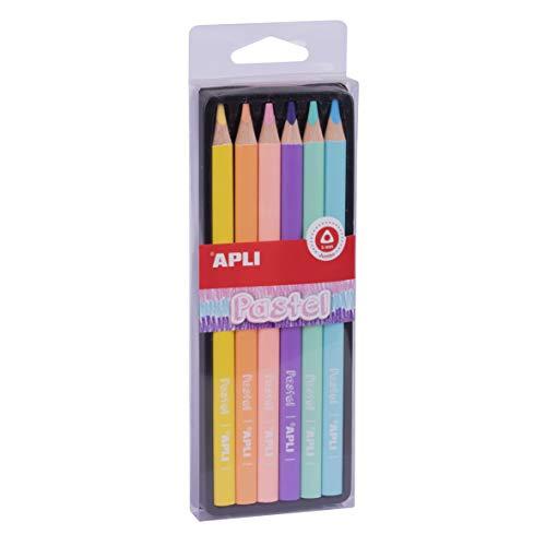 APLI 18059 - Lápices Jumbo Pastel colores surtidos caja 6 u.