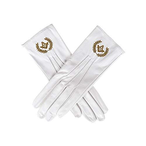 White Masonic Leather Gloves by Masonic Revival - Antique Gold Emblem (Extra Large)