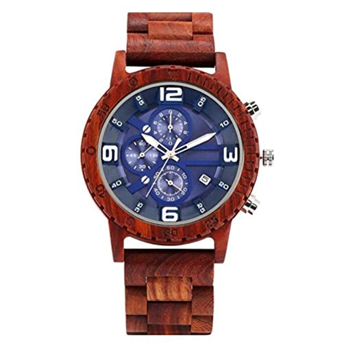 KUELXV Reloj de Pulsera de Madera Relojes para Hombre Reloj de Madera roja Cronógrafo Funcional Relojes Deportivos Reloj de Cuarzo para Hombre Reloj dePulsera Retro conCalendario de Banda de ma