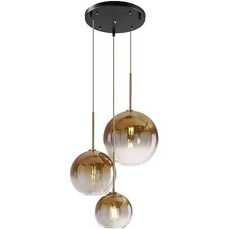 MZStech Set 3 voies Suspension boule en verre de couleur dégradé Globe, 3 lumières Lampe suspendue en verre moderne (Golden)