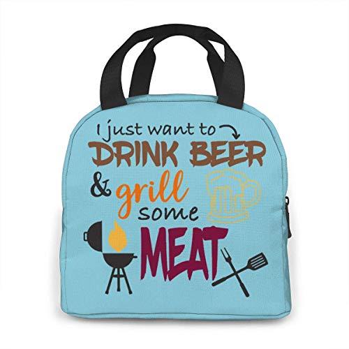 N\A Beba Cerveza y Asar Algo de Carne Bolsa de Almuerzo, Gran lonchera con Aislamiento para Mujeres, Bolsa de Picnic para Adultos/Trabajo/Viaje/Escuela, fácil de Llevar y Limpiar