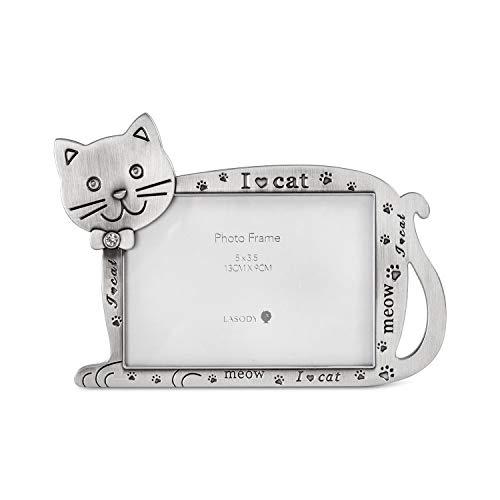 LASODY Bilderrahmen mit Katzenmotiv, Zinklegierung, 12,7 x 8,9 cm, Foto-Geschenk für Haustier, Katze, Kätzchen, zum Präsentieren auf Tischplatte, Schreibtisch (Antiksilber, 12,7 x 8,9 cm)