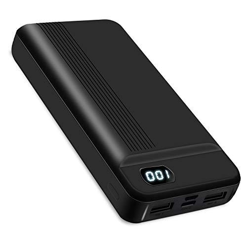 BOTKK Power Bank 20000mAh, Caricabatterie Portatile, Doppia Batteria Esterna USB con Ingresso USB-C/Micro USB, Uscita 3A, per iPhone Altri telefoni cellulari - Nero