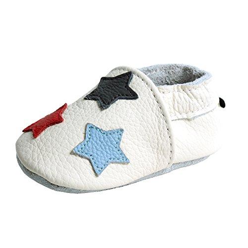iEvolve Baby Mädchen Jungen Sterne Babyschuhe Baby Weiche Sohle Lederschuhe Baby Lauflernschuhe Krabbelschuhe(Weiß Sterne,12-18 Monate)