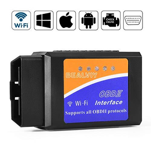 OBD2 Wifi, Bealviy Diagnóstico OBD2, Adaptador Wifi OBD2 ios, OBDII, OBD2 Escáner Wifi USB, Igual que ELM327 Wifi, Soporte Todos Protocolos OBD2, Compatible con iOS, Android, Symbian, Windows (Wifi)