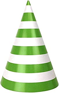 Just Artifacts Childrens Party Cone Hats 12pcs Striped Green Apple
