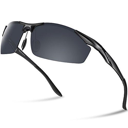 Paerde Occhiali da sole sportivi polarizzati, ideali per la corsa, la guida, montatura e lenti infrangibili, Black