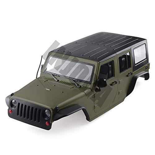 INJORA RC Auto Karosserie KIT Jeep Wrangler Car Body Shell für 1:10 RC Crawler Axial SCX10 und SCX10 II 90046 90047 (Oliv)