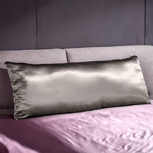 THXSILK 22 Momme Mulberry Silk Body Pillow Cover Pillowcase with Hidden Zipper - &Breathable Pure Natural Silk on Both Sides (20x54 inch, Charcoal)