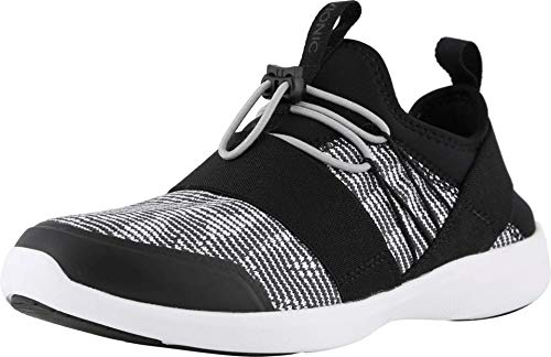 Vionic Women's Sky Alaina Slip-on Active Sneaker - Ladies Walking Shoes with Concealed Orthotic Arch Support Black White 8.5 Medium US
