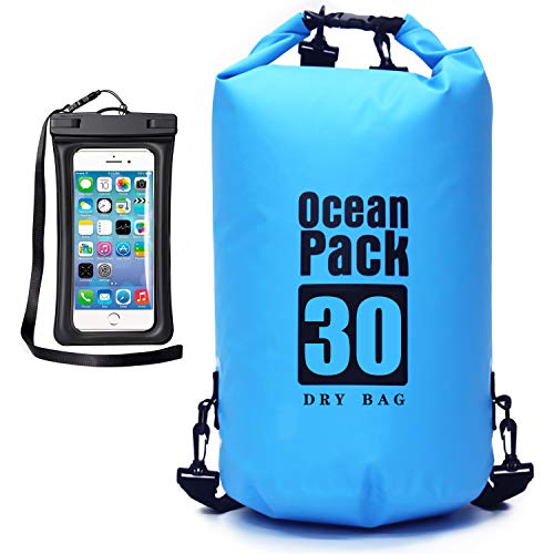 MR.LION Floating Waterproof Bag Sack - Dry Bag Kayaking Camping 20L Roll Top Keeps Your Gear Dry While Rafting Boating at Beach and Fishing with Free Waterproof Phone Case (Blue, 20L)