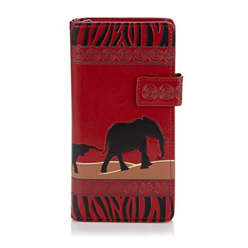 Shagwear Junge-Damen Geldbörse , Large Purse: verschiedene Farben und Designs:, Elefanten Safari Rot/ Elephant Safari, L