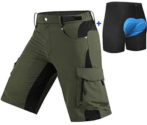 Ally MTB Hose Herren Radhose, Mountainbike Hose Fahrradhose Herren Kurz, Outdoor Sport Herren Radlerhose MTB Bike Shorts (Grün mit Pad, XL/cm(Waist:89-94,Hip:100-105))
