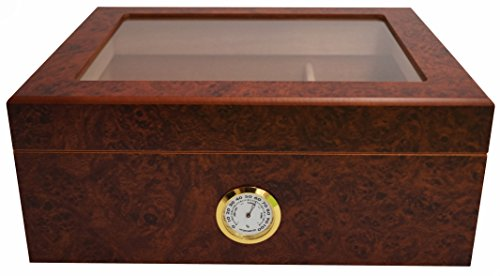 GERMANUS Sigari Humidor Desk I con igrometro e umidificatore e GERMANUS Manuale Marrone