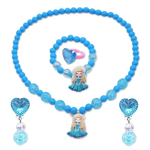 YUIP Kids Jewelry Set, 5 Pack Girl flower Girl Jewelry, Beaded Necklace Beads Bracelet Earrings Ring with Gift Box for Girls,Little Girls Jewelry Sets for Princess Dress Up Play Party Favors, Blue