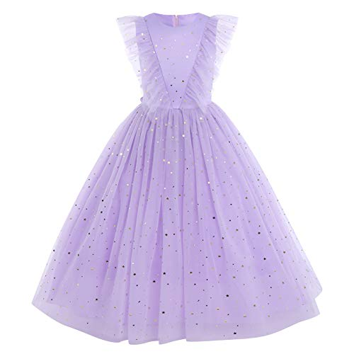 Flower Girls Long Lace Junior Bridesmaid Dress Ruffle Maxi Pageant Ball Gowns Wedding Festival Carnival Easter Father's Day Mother's Day Children's Day Gift for Kids Star-Lavender 7-8 Years