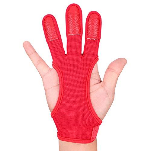 FitsT4 Traditioneller Bogenschießen-Handschuh Leder, 3 Finger-Schutz Handschuhe für Kinder-Jugend-Erwachsene-Anfänger schießen.