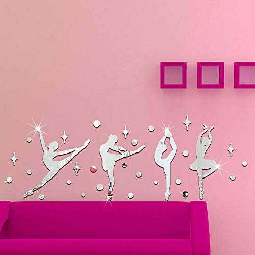 espejo flores ¡± pared decoración pared - Etiquetas engomadas de la pared del espejo de la muchacha del ballet 3D-Plata