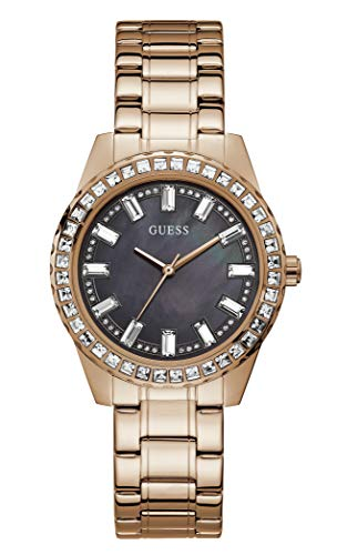 GUESS Women's Quartz Watch with Stainless Steel Strap, Rose Gold, 19 (Model: GW0111L3)