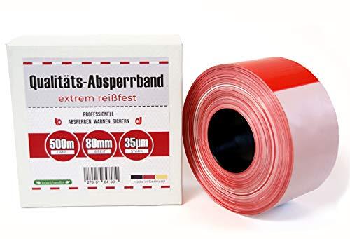 Absperrband 500m Flatterband rot weiß Baustelle Feuerwehr Polizei Absperrungsband im Karton extrem reißfest 80 mm x 35 µm Baustellenband Gefahrenstellen Absperren rotes Warnband